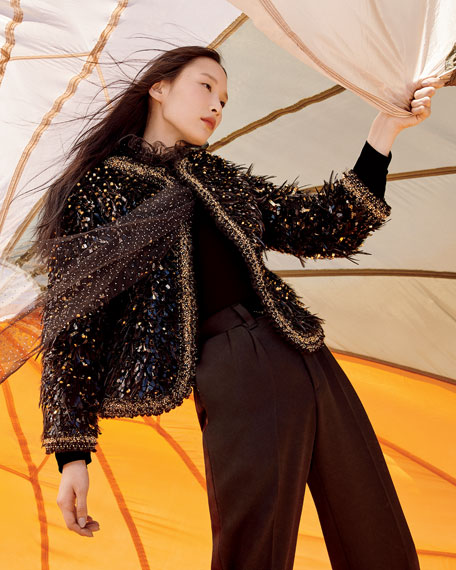 Marc Jacobs (Runway) Embroidered Feather Open Blazer
