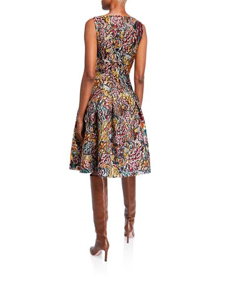 Oscar de la Renta Floral Brocade Sleeveless Day Dress