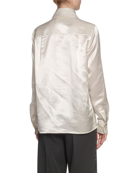 Marc Jacobs Pleated Satin Button-Front Blouse
