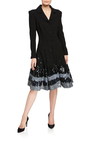 Zac Posen Fringe Degrade Sequined Princess Coat