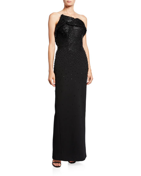 Zac Posen STRAPLESS BEADED COLUMN GOWN