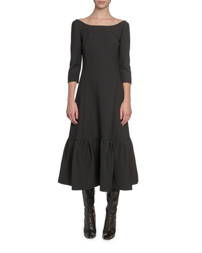 3/4-Sleeve Boat-Neck Twill Dress