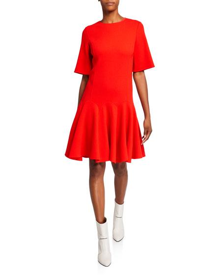 Oscar de la Renta Short-Sleeve Flounce Day Dress