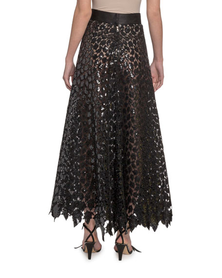 Marc Jacobs (Runway) Sequined Leaf Lace Midi Skirt