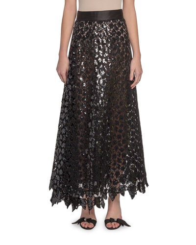 Sequined Leaf Lace Midi Skirt