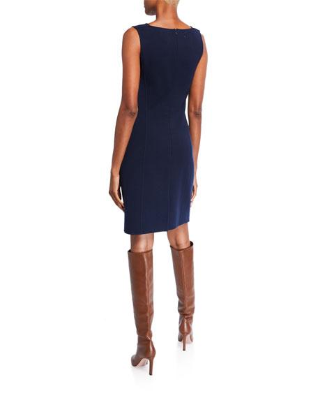 Oscar de la Renta Crepe Asymmetric-Neck Sheath Dress