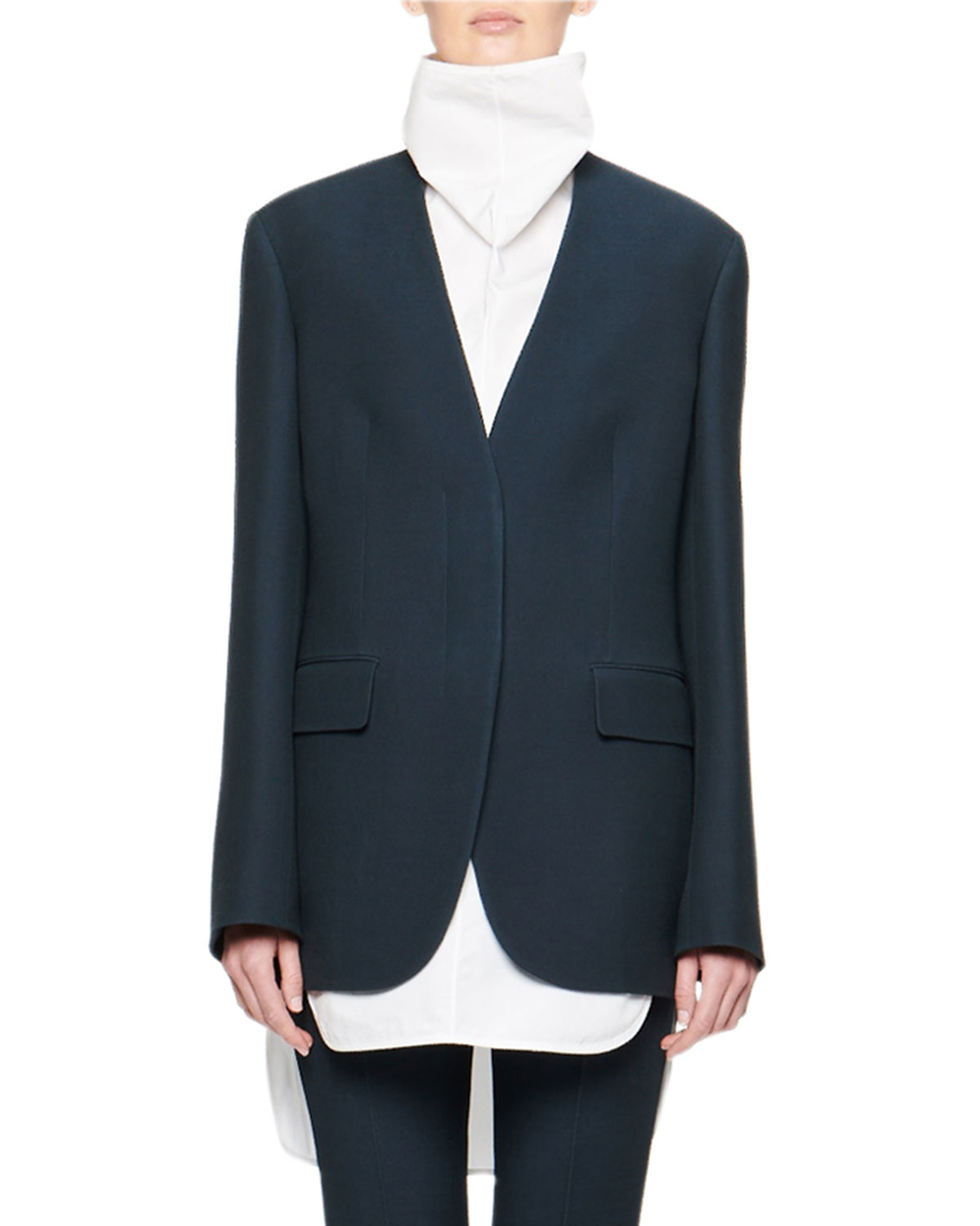 Murray Collarless Wool Jacket by The Row