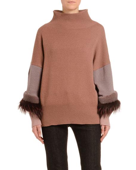 Agnona Mink-Fur Trim Cashmere Mock-Neck Sweater