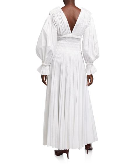 Khaite Dawny Cotton Puff-Sleeve Dress