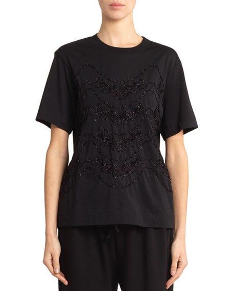 Simone Rocha Tinsel Embroidered Classic Boy Tee