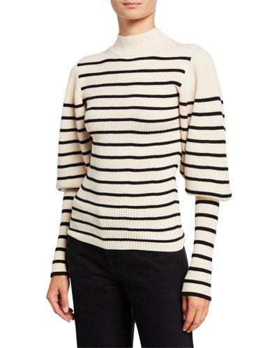Joanne Puff-Sleeve Striped Wool Sweater