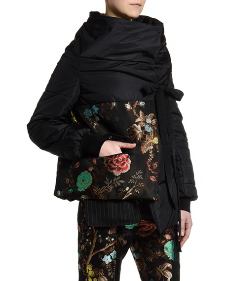 Antonio Marras Asian-Floral Jacquard Front Puffer Coat