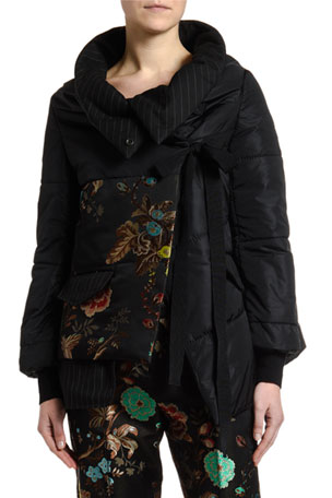 Antonio Marras Asian-Floral Jacquard Front Puffer Coat