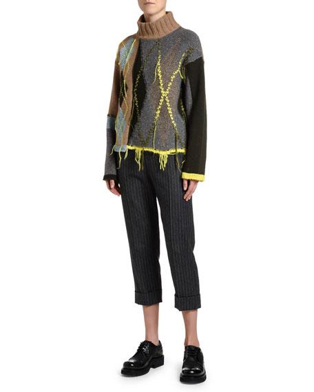 Antonio Marras Argyle Ribbed Mock-Neck Sweater