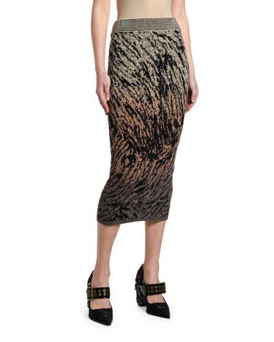 Tiger-Print Knit Slim Skirt