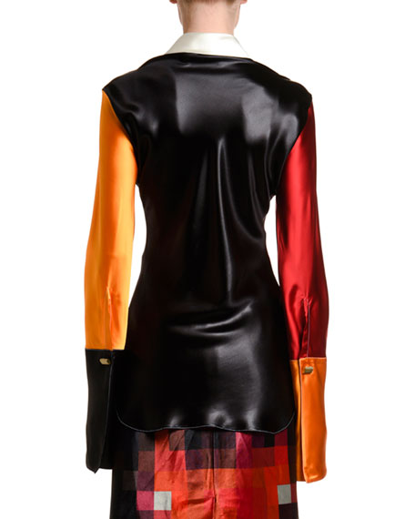 Marni Pixelated Satin Large Cuff Shirt