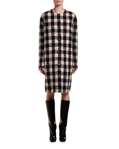 Gingham Boucle Caban Coat