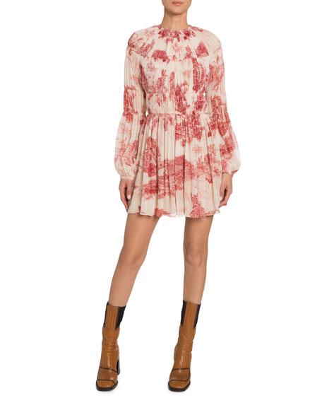 Chloe Long-Sleeve Toile-Print Chiffon Dress