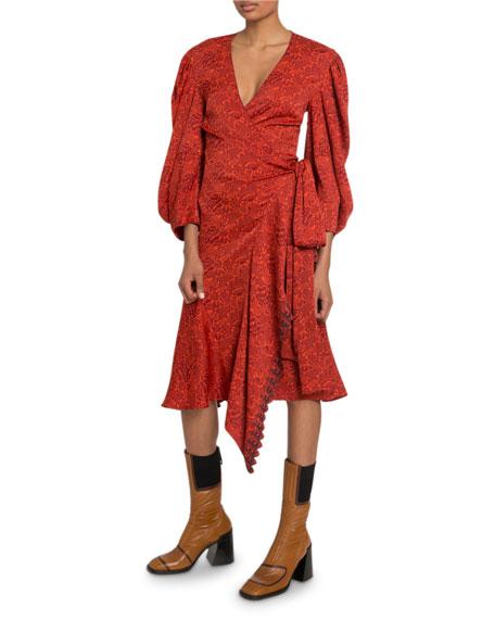 Chloe 3/4-Sleeve V-Neck Wrap Dress