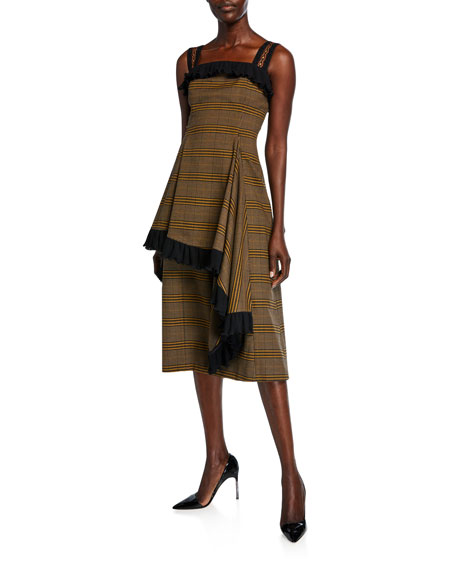 ADEAM Plaid Asymmetric Ruffled Dress