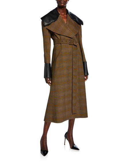 Adeam FAUX-LEATHER TRIM BELTED COAT