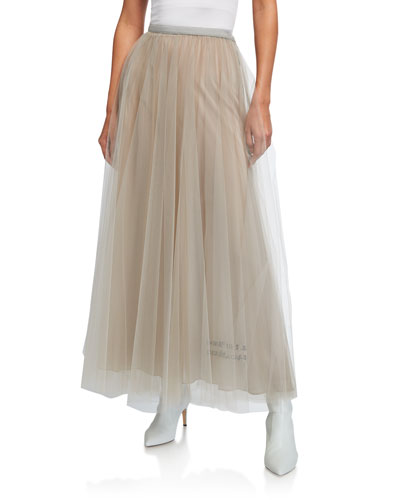 Poem-Embroidered Tulle Maxi Skirt