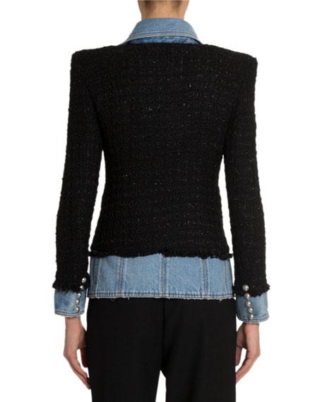 Balmain Layered Denim Tweed Blazer