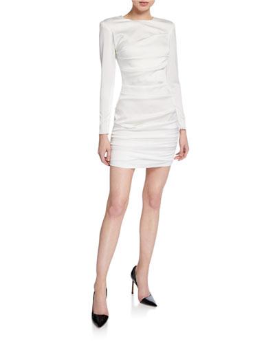 Ruched-Satin Mini Blazer Dress