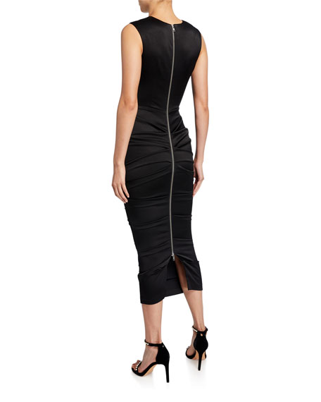Image 2 of 2: Alex Perry Ruched-Satin Bodycon Dress