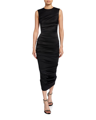 Ruched-Satin Bodycon Dress