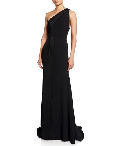 Hollis One-Shoulder Satin Gown