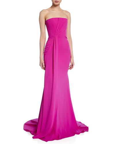 Garnet Strapless Satin Gown