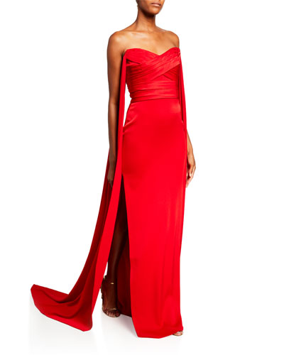 Fletcher Satin-Crepe Strapless  Gown with Draping