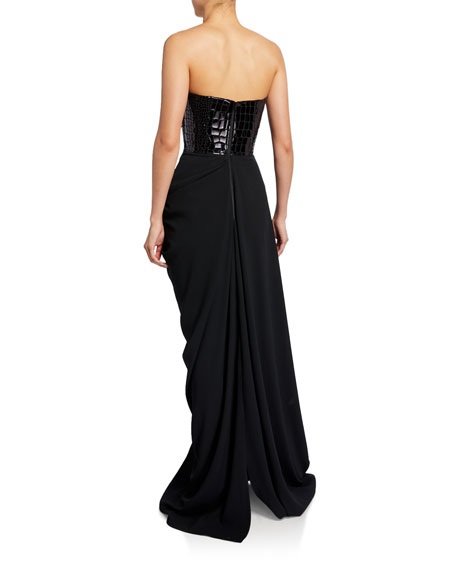 Image 2 of 2: Alex Perry Reptile-Sequined Strapless Column Gown