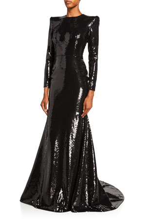 Alex Perry Felix Sequined Long-Sleeve Gown
