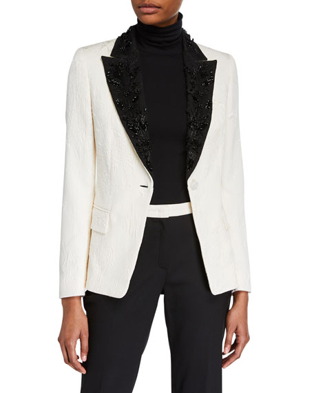 Escada Beaded Floral-Jacquard Lapel Blazer Jacket