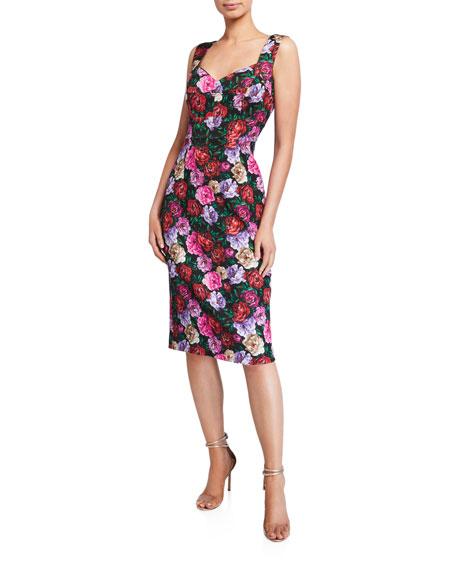 Escada Dinavia Floral-Print Cocktail Dress
