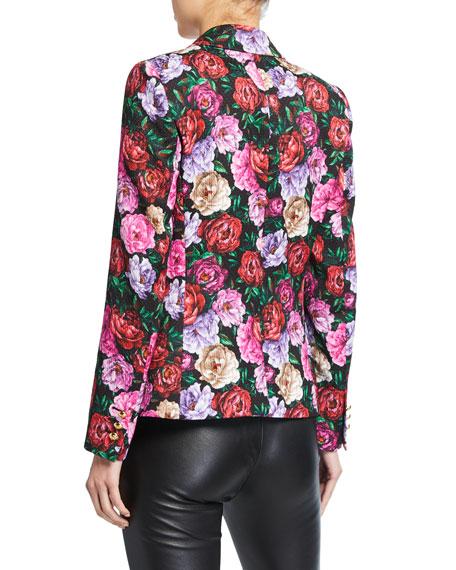 Escada Dinavia Floral-Print Hammered Cotton Jacket