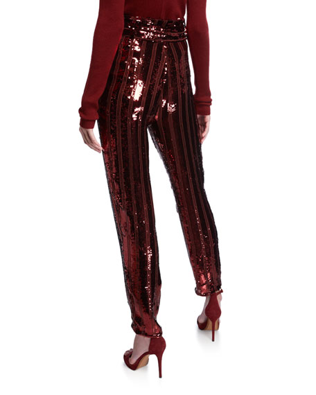 Sally LaPointe Stripe Sequined Tapered Pants