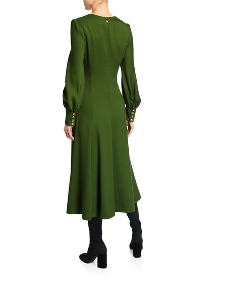 Escada Demmira Cavalry Twill V-Neck Dress