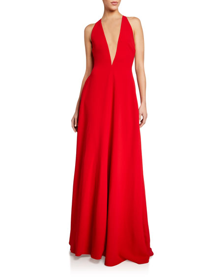 Stella McCartney Crepe Deep-V Gown with Cape