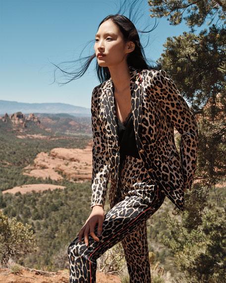 Escada Talarantu Leopard-Print Narrow-Leg Pants