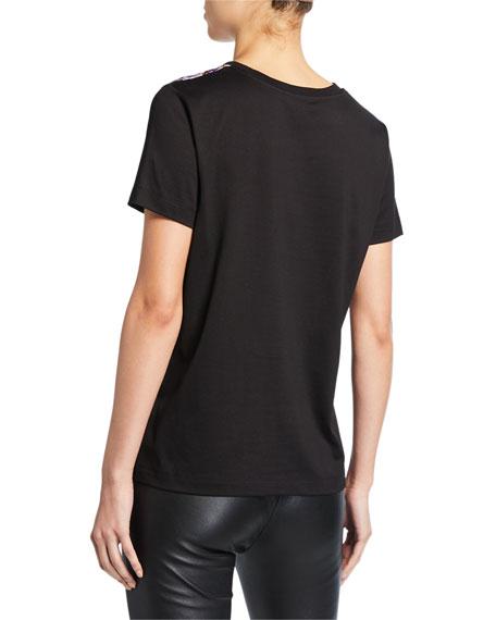 Escada Ellamini Peony-Print Silk-Front T-Shirt