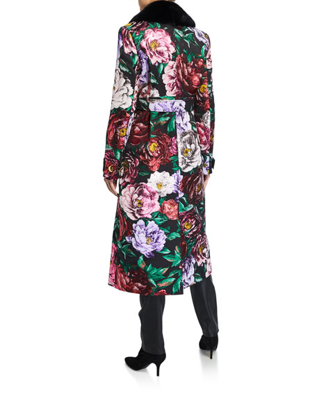 Escada Maylor Metallic Floral-Jacquard Topper Coat