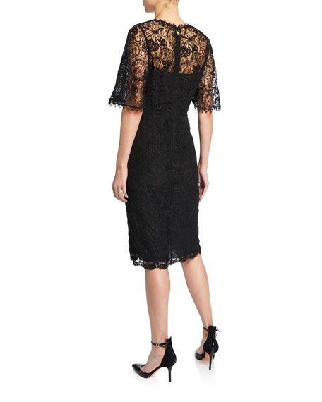 Escada Dullja Lace Square-Neck Split-Sleeve Dress