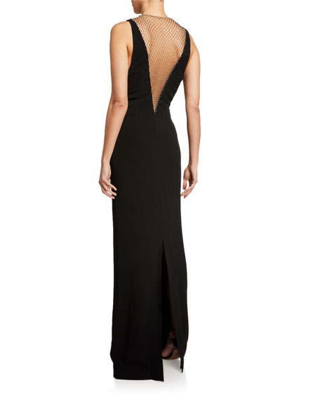 Stella McCartney Deep V-Neck Mesh Column Gown