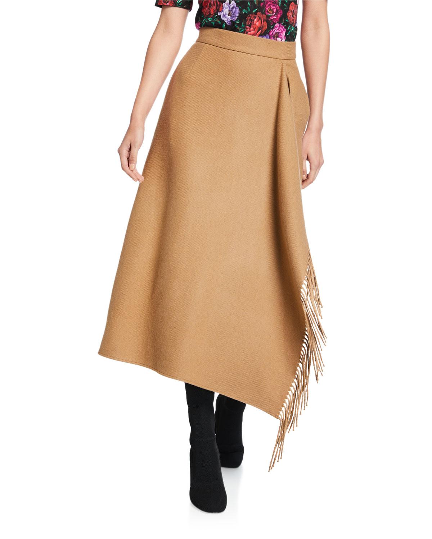 Rakama Wool Fringe Midi Skirt by Escada