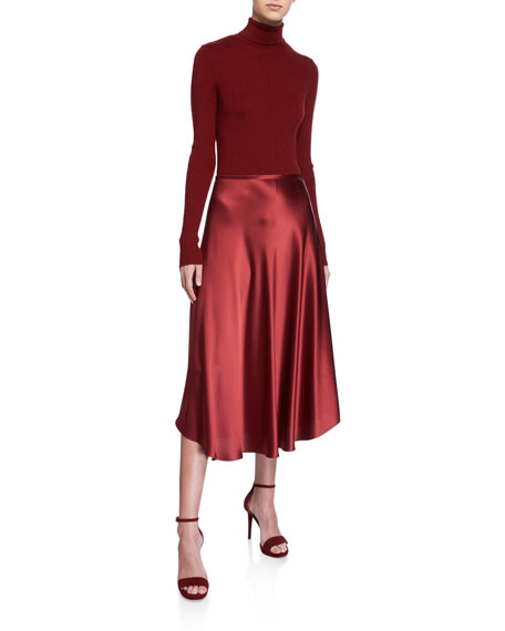 Sally LaPointe Flowy Satin Midi Skirt