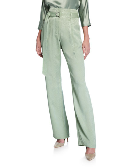 Sally LaPointe Snake Satin High-Rise Pants, Green