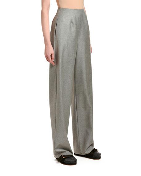 Agnona Wool-Cashmere Clean-Front Wide-Leg Pants